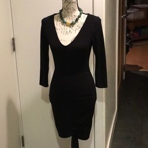 Kimchi Blue, black fitted dress w/ ruching on side